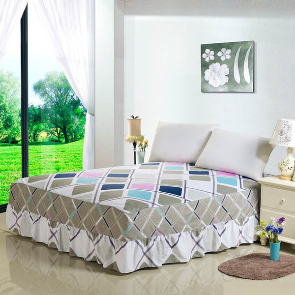 Plaids Print Bed Skirt for Kids Adults Single Double Bed 100% Cotton Sanding Bed Skirts (No Pillowcase)