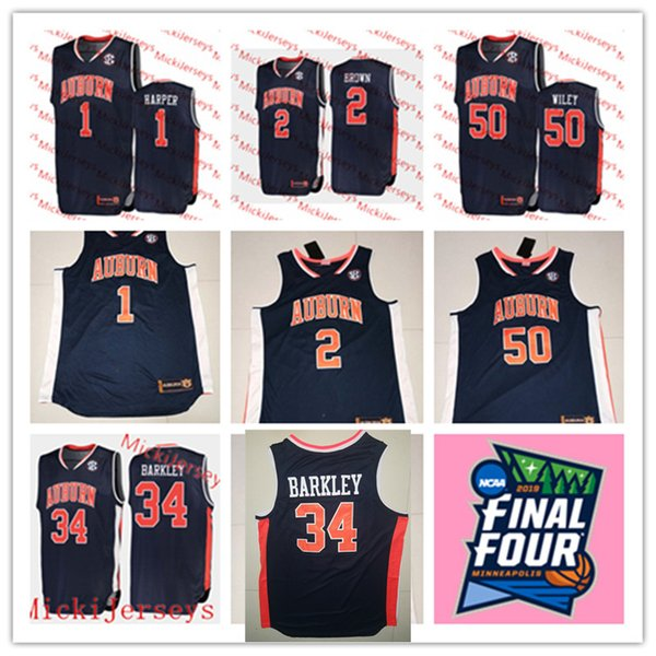 2019 Mens Auburn 2019 Final Four 1 Jared Harper 2 Bryce Brown 50 Austin Wiley Basketball Jersey Stitched 34 Charles Barkley Auburn Jersey From