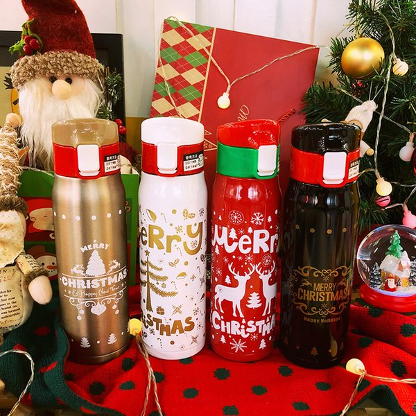 Christmas Stainless steel Water Bottle cup Vacuum Insulation flasks thermos tumblers portable Cups Xmas New year Gift party favor FFA2733