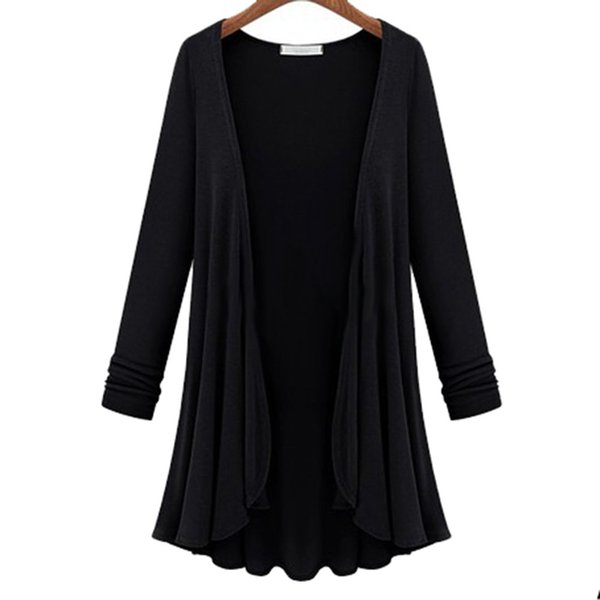 Fashion- NEW Women Fashion Cotton Top Thin Blouse Long Sleeve Summer Cardigan Sweater Coat Top Big Size Flounce Plus Size