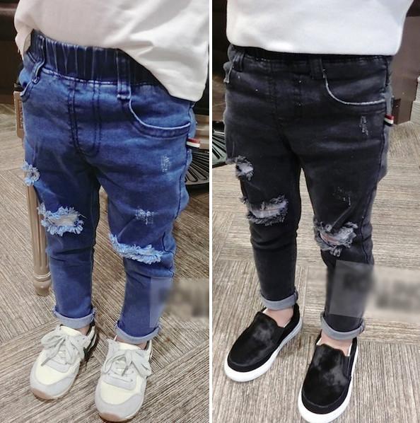 Spring Boys jeans fashion girls hole denim pants children double pocket cowboy trouser kids elastic waist casual pants fit 2-6T F2902