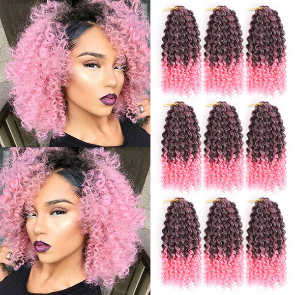8 Inch Kinky Crochet Hair Synthetic Malibob Crochet Hair Extensions Short Ombre Afro Jerry Curl Braids Hair 9 Pcs/Lot (#1B/Pink)