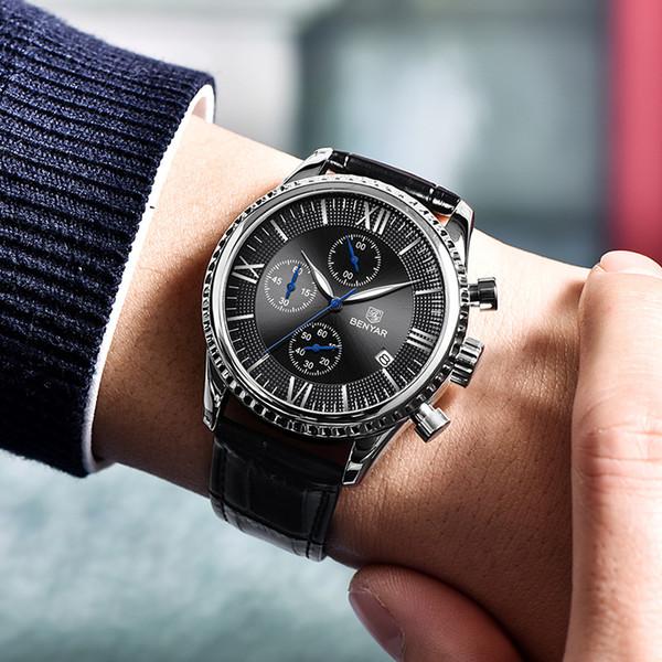 Venta al por mayor Reloj de los hombres Moda / Deporte / Reloj de cuarzo Reloj de pulsera para hombre Reloj de primeras marcas de lujo Relojes de cuero para hombres Relogio masculino