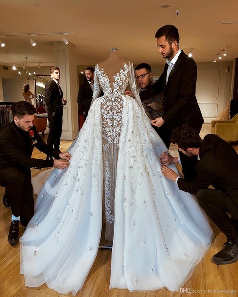 Sparkly Luxurious African 2020 Wedding Dresses With Skirts Lace Beaded Sheath Bridal Dresses Long Sleeves See Through Wedding Gowns
