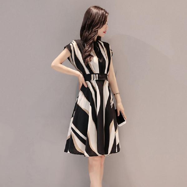 Fashion Elegant Summer Beach Dress Women 2019 Black Boho Striped Evening Party Midi Dresses Knee-length Vestidos Plus Size