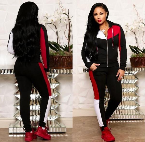 Spring Plaid Two Piece Set Sweatsuit donna con cappuccio Zip Tops + Pants Sweat Suit Womens Tuta 2 pezzi Outfit Set coordinato