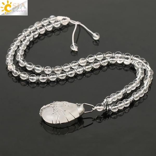 CSJA Collares de piedra natural Árbol de la vida Envoltura de alambre de plata Colgante de gota de agua Collar 7 Chakra Cristal blanco Mujer Joyería S481