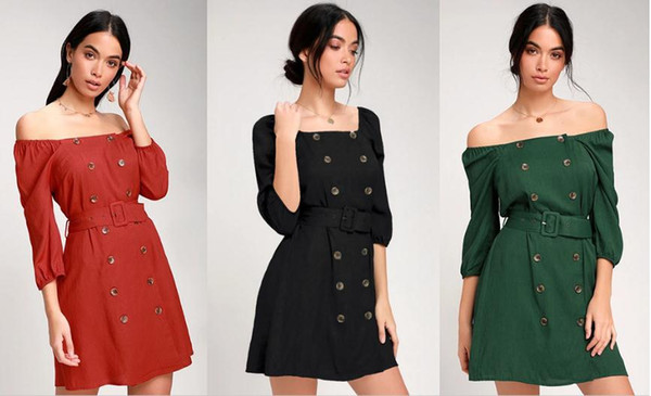 2020 new year Women's Clothing Casual Dresses strapless Three Quarter Sleeve Double-breasted belt Women's wear designer Black red dark green