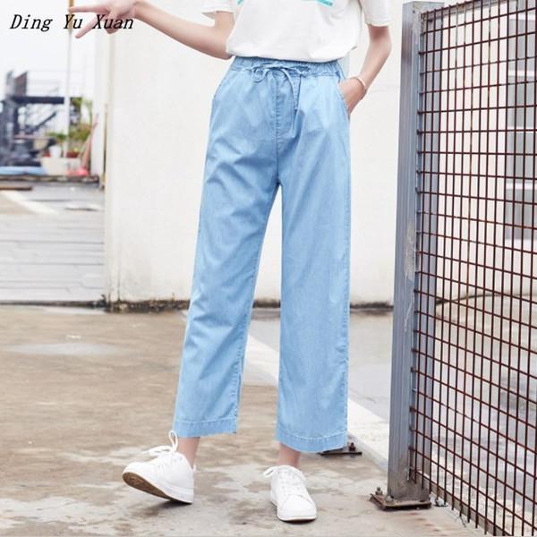 Denim pantaloni moda donna alla caviglia lunghezza 2019 Womens Summer vita alta blu allentato gamba larga Jeans sottili donna casual Sheer Jeans