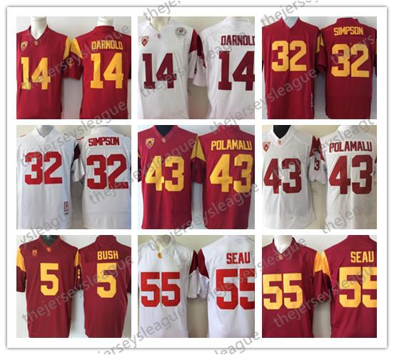 USC Trojans Discount #14 Sam Darnold 43 Troy Polamalu 32 OJ Simpson 55 Junior Seau 5 Bush Red White Stitched NCAA Football Jersey