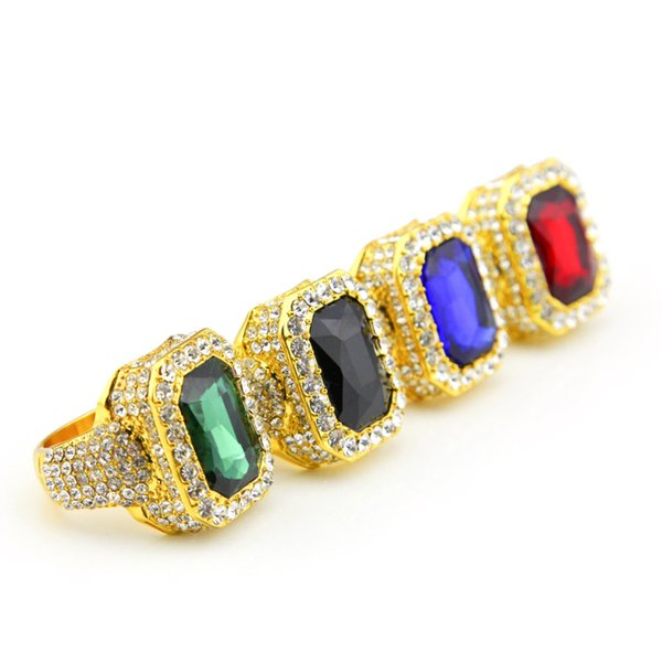 Hip Hop Big Square Color Crystal Ring For Women Man Geometric Simple Rhinestone Ring Fashion Gold Plated Alloy Jewelry Accessories Wholesale