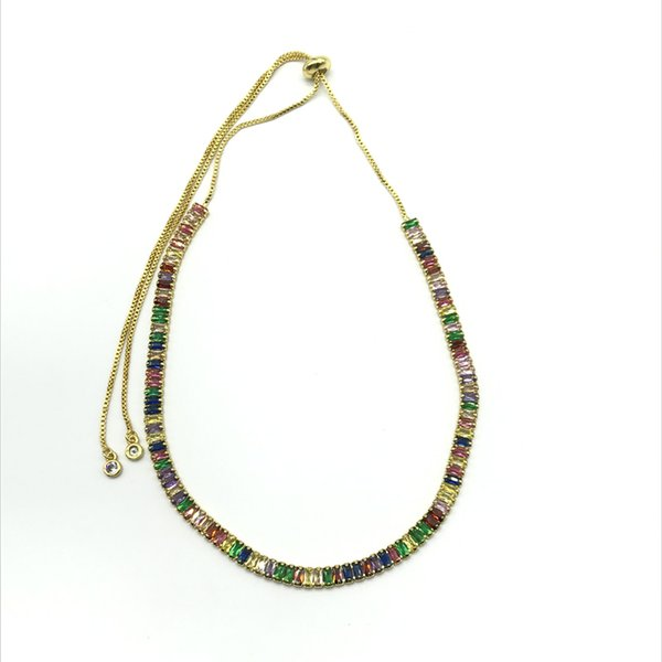 Élégant Rainbow Bijoux 2 * 5mm Zircone Rectangle Perles Colliers De Taille Réglable