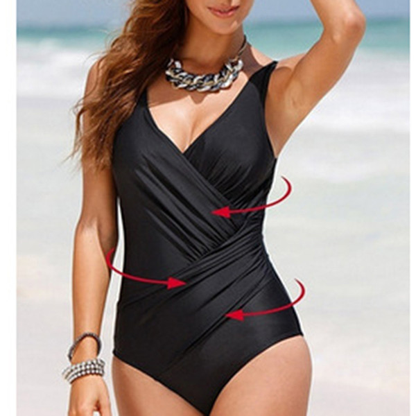 2017 New Sexy Women Swimsuit Solid Dot One-Piece Swimwear With Halter Strap Tight One-Piece Swimwear CU987501