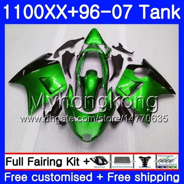 +Tank For HONDA Blackbird CBR 1100XX CBR1100 XX 02 03 04 05 06 07 271HM.44 CBR1100XX 2002 2003 2004 2005 2006 2007 Fairings green glossy hot