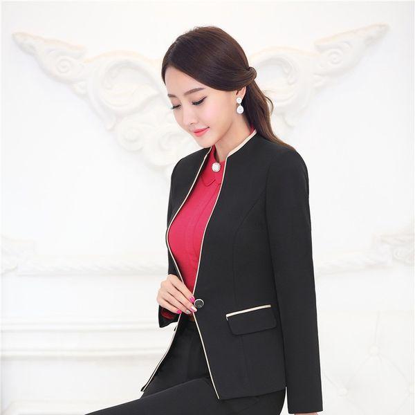 Formal Slim Fashion Uniform Design Professional 2015 Autumn Winter Tops Blazers Jackets Coat Business Work Ladies Clothes