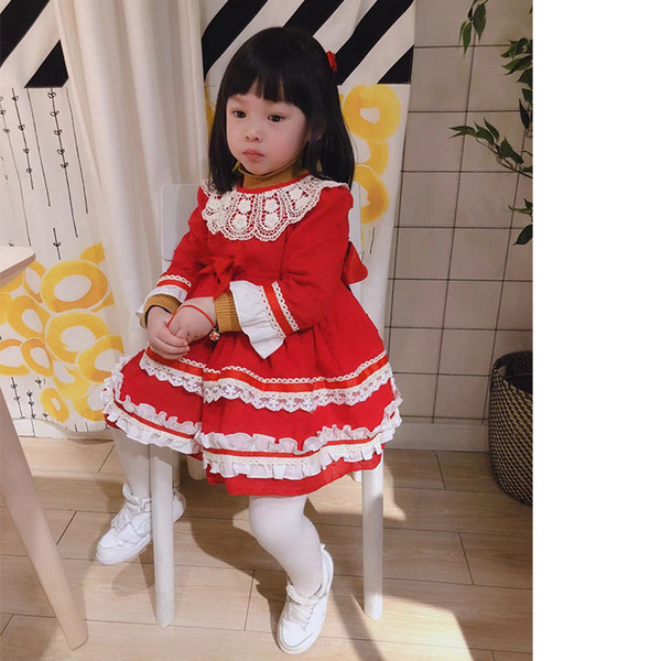 Compre Vestido De Niña De Diseñador Vestido De Estilo Español Boutique De Manga Larga Color Rojo Con Encaje Y Lazo Vestido De Niña De Diseño Vestido