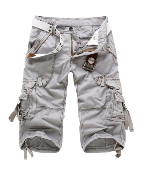 Hot Selling Men's Summer Overalls Knee-Length Pants Tide Male Multi-pocket Casual Big Yards Loose Cargo Tooling Tactical Pants