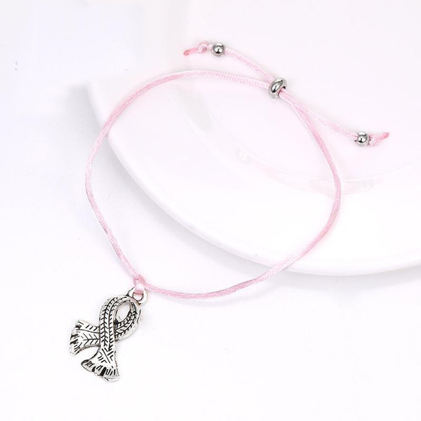 Link Key Chains Breast Cancer Awareness Pink Ribbon Clip On Charm for Bracelets
