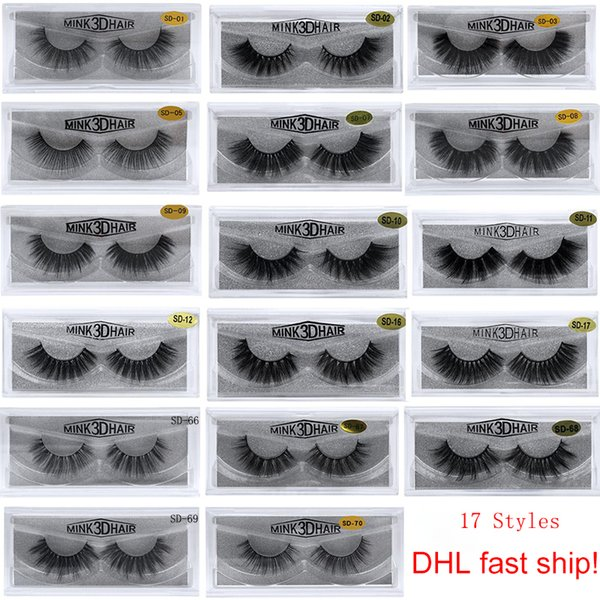stock 17 styles Selling 2pcs=1pair/lot 3D Mink Eyelash Long Individual Sexy False Eyelashes Mink Lashes (DHL Super fast shipping!)