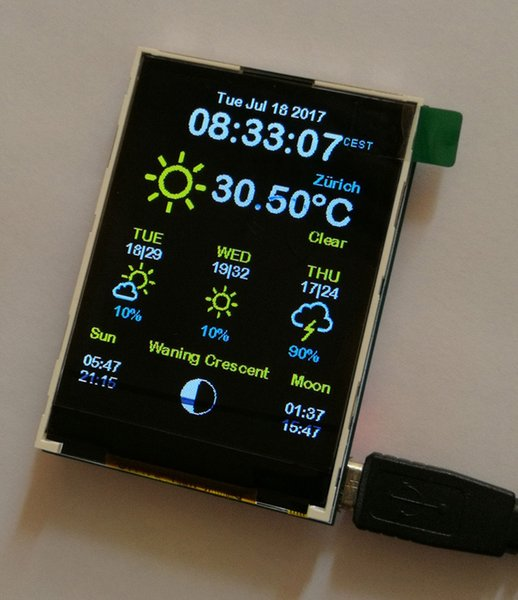 Esp8266 Weather Station Color 240x320 Display OpenWeatherMap Wifi Open  Source Github AZSMZ TFT TOUCH Home Automation Reviews Lighting Control From
