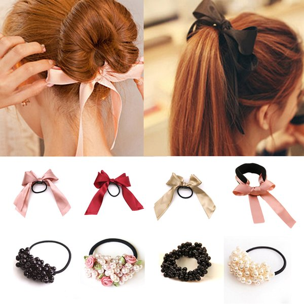 1pcs Women Tiara Satin Ribbon Bow Hair Band Rope Scrunchie Ponytail Holder Gum for Hair Accessories Pearl Elastic Rubber Bands