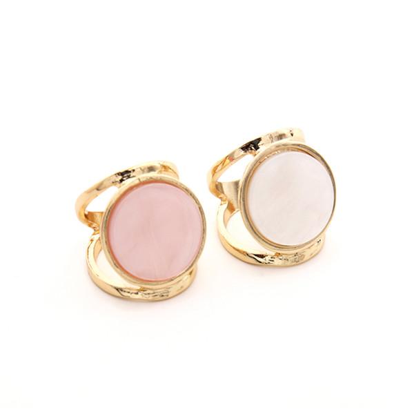 SRCOI Fashion Harz Cocktail Statement Ring Weiß Rosa Runde Geometrische Acryl Big Gold Gefüllt Ring Frauen Hochzeit Bijoux