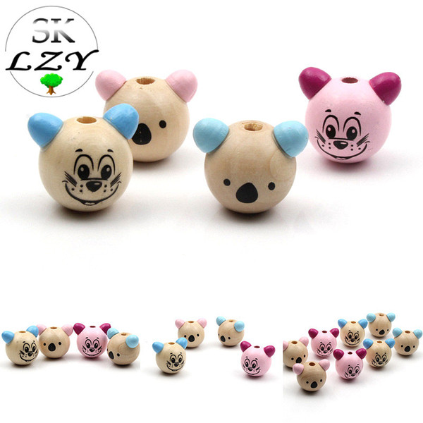 5PCS Cute Koala 3D Modeling Wooden Beads DIY Making Baby Pacifier Clip Toy Jewelry Accessories