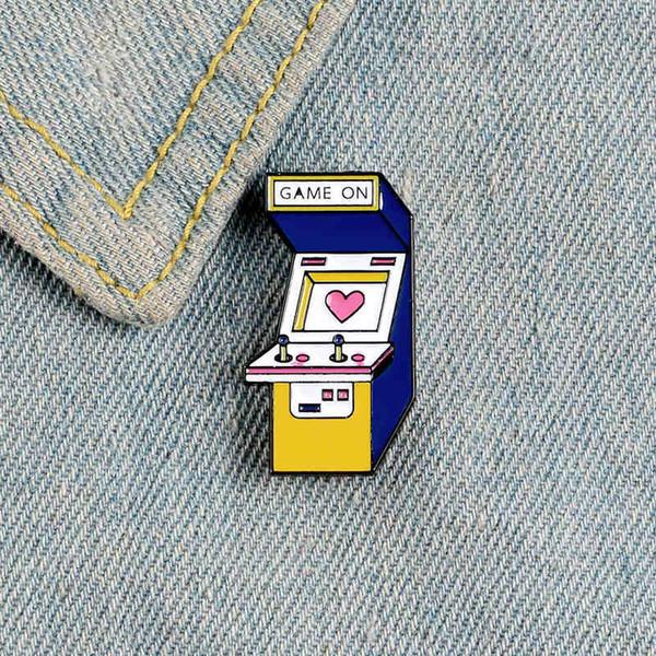 Gioco pin macchina smalto Video giochi distintivo gioielli cuore rosa Cartoon Rocker piacciono i vestiti zaino regalo gioielli borsa risvolto pin per il capretto