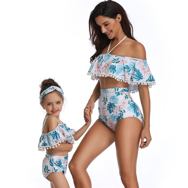2019 новых женщин без бретелек с высокой талией бикини с открытой спиной купальники семья соответствующие купальники для девочек детские дети дети Y19072601