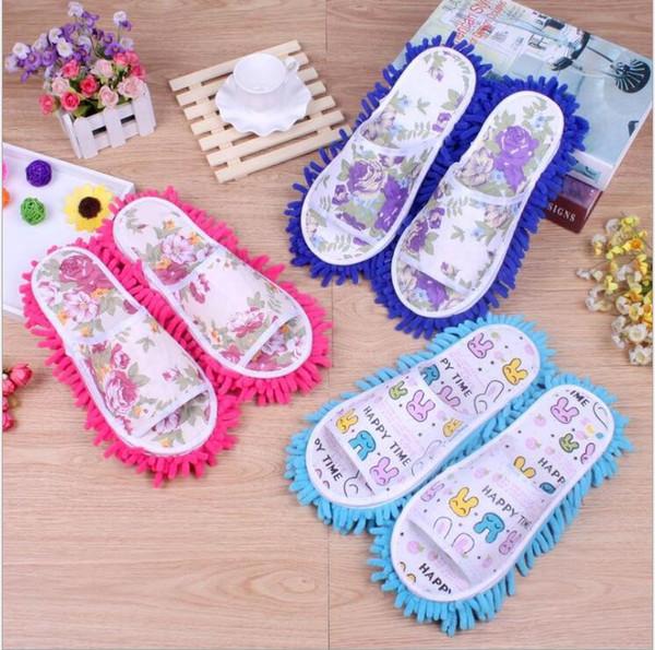 Preguiçoso sapatos de limpeza do pé limpador de esfregão chinelo de microfibra sapatos macios wearable banheiro piso poeira capa ferramentas de limpeza em casa presentes LT1160