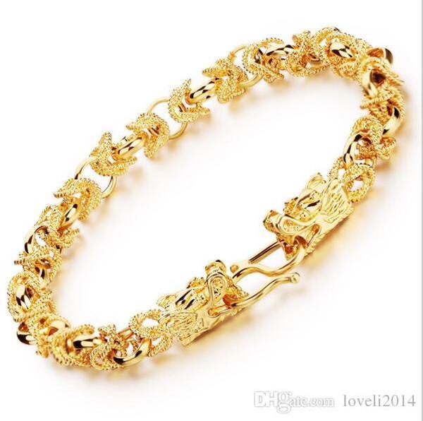 2016 new fashion new 24 k placcato oro giallo uomo bracciali vintage testa di drago stile chain link uomini braccialetto gioielli 22 cm lungo ks445