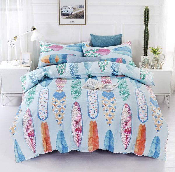 Lucky Home 3 Piece-King Size 3D Sea Beach Bedding Set Watercolor Flower Pattern Children Home Textile Bedding Duvet Cover Sheet Sets
