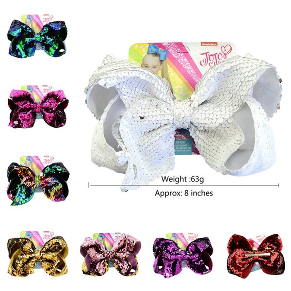 8inch JoJo Reversible Sequins Bow Hairpin Mermaid Glitter Baby Girls Hair Clip Bling Barrettes Fish Scales Hairclip Hair Accessories A21502