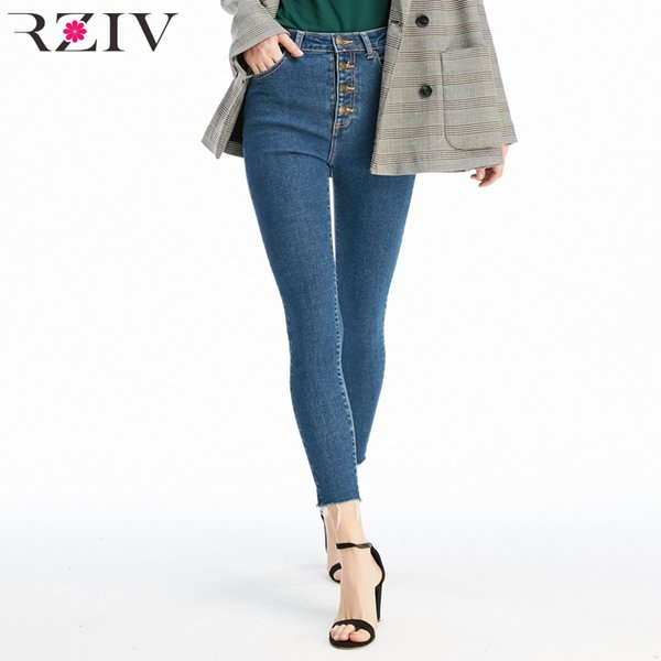 Rziv High Quality Women Jeans And High Waist Button Fly Denim Skinny Jeans Stretch Pencil Pants MX190714
