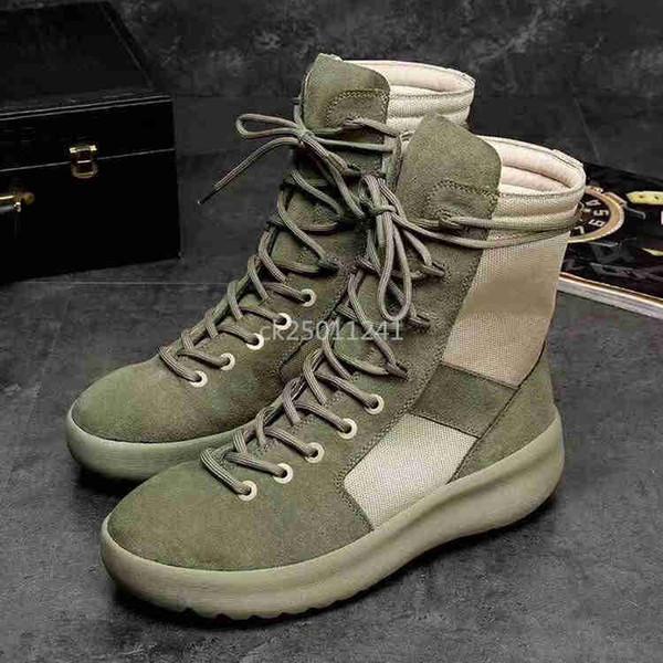 ck25011241 / MEDO DE DEUS Militar alta-Top Outdoor Botas Sneakers preto Suede Gum Grey Nubuck Bota Nevoeiro Jerry Lorenzo Kanye nylon preto tênis ck05