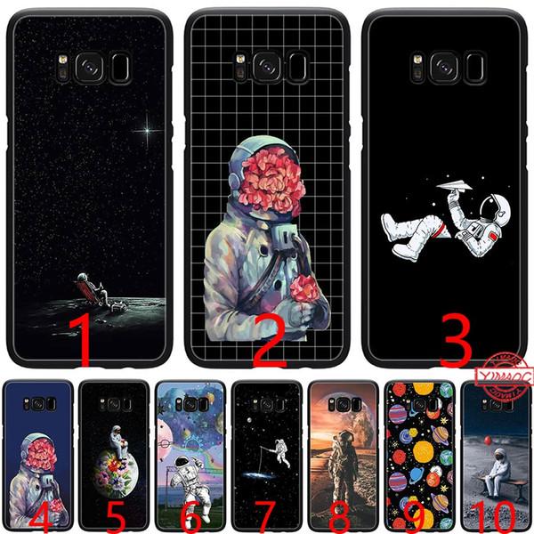 Cas de téléphone de l'espace TPU astronaute souple en silicone noir pour Samsung A3 A5 2016 2017 A6 Plus 2018 couverture