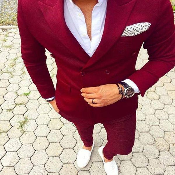 Peaked Lapel Double Breasted men Suit (Jacket+Pant) Costume Homme Mens Suits Fashion Latest Coat Pant Design