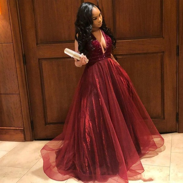 Said Burgundy A Line Evening Dresses 2019 Deep V Neck Beading Backless Tulle Formal Gown Tiered Skirt Tulle Girls Prom Dress BC1089