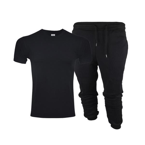 2019 New Solid color T Shirt+pants men Mens Black And White 100% cotton T-shirts Summer Skateboard Tee Boy Skate Tshirt Tops