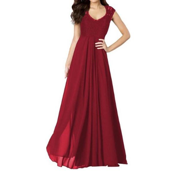 Kleid lange beiläufige Frauen neue Spitzennaht und Chiffon ärmelloses und reines Farbkleid