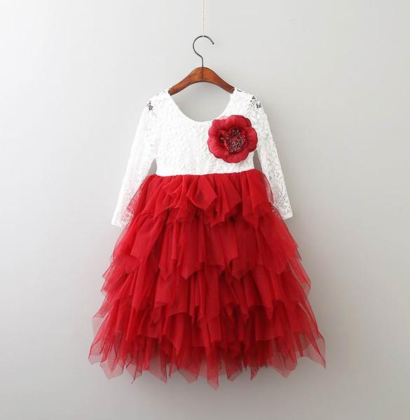 Robe de soirée pour filles Nouveaux enfants Stéréo fleurs Tutu en dentelle de dentelle robes dos filles T-shirt à manches longues à col en V Robe longue princesse
