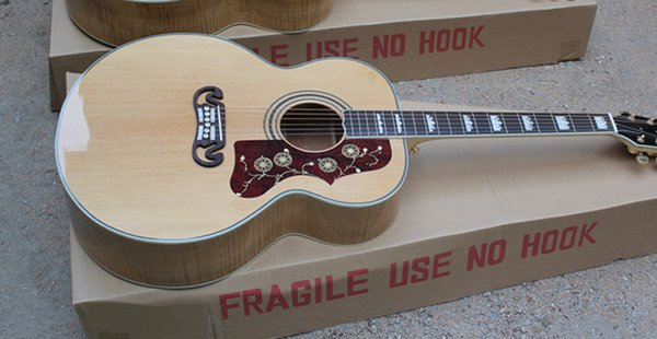Hot Sale Quality AAA Custom Shop Burlywood Solid Spruce Top Venner Tiger Flamed Maple & Sides & Back Acoustic Guitar