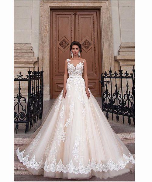 2019 Escote redondo Escote Champagne Color Vestidos de bola Vestido de novia Apliques Encaje Ilusión Volver Vestido de novia vestido para casamento