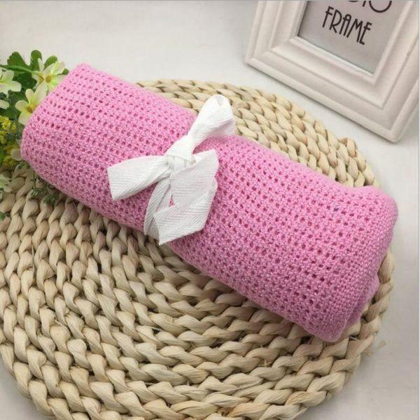 Nouveau-né bébé Couvertures Super Soft Cotton Crochet Summer Sleeping Fournitures de lit Trou Wrap de couverture Air conditionné pour bébé 90 * 70cm