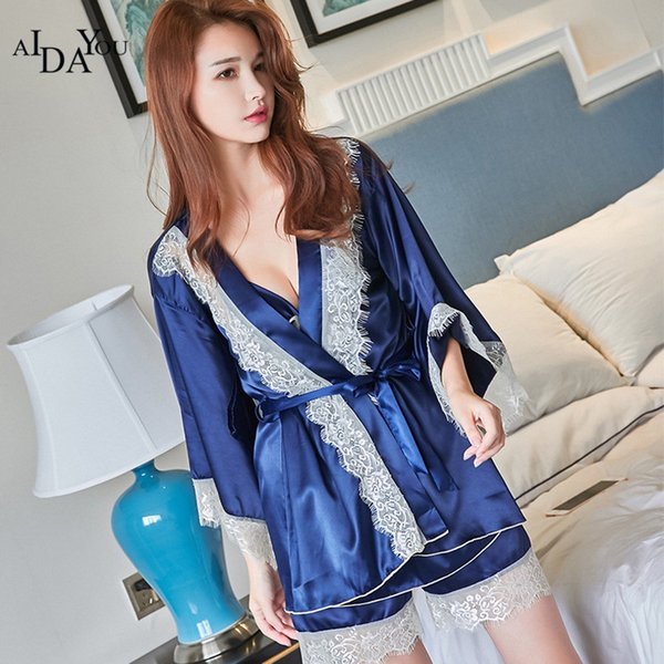 AIDAYOU Women pajamas set summer spring 3 pieces SEXY style sleeping cloth plus size blue color turn down collar ouc3108