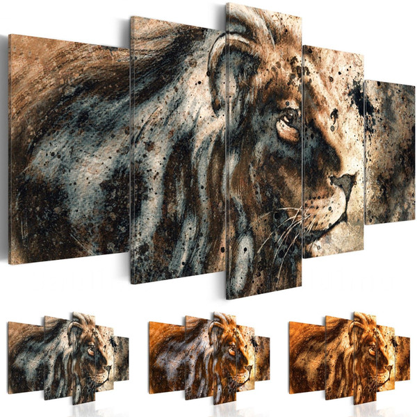 Canvas Art Print Abstract Modern Wild Animals Lions Painting Home Decoration, Choose Color & Size(No Frame )