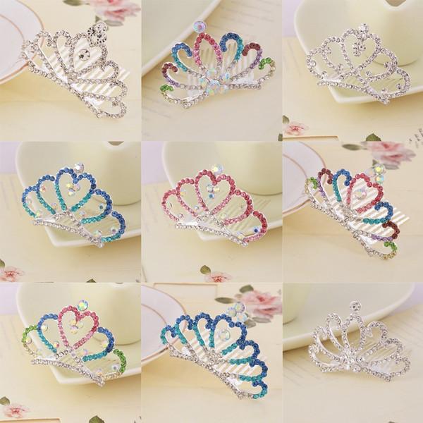 Multicolor Shiny Rhinestone Crown Hair Clip - Children Kids Girls Princess Hairpins Hair Combs Accessories Ornaments Tiaras