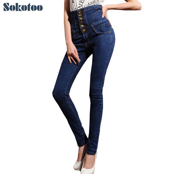 Jeans a vita alta senza fodera donna o foderato caldo Pantaloni a vita bassa con bottoni allacciatura taglia grande elastico J190505