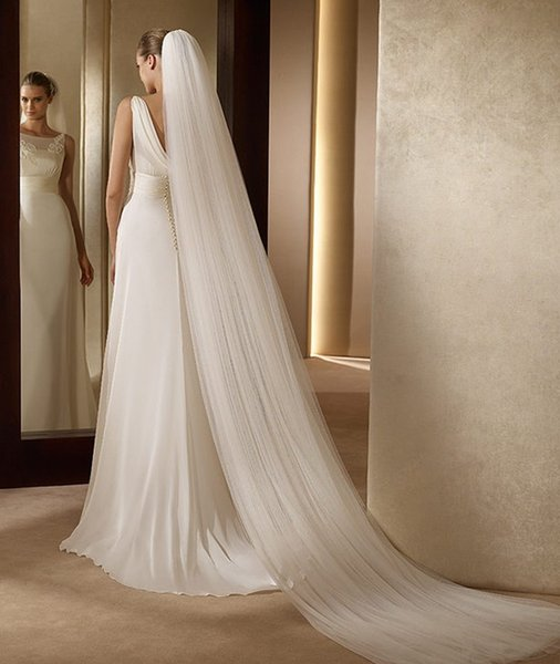 wholesale White 3m Long Bridal Veil Trailing Cathedral Wedding Veils Simple 3 Layers Veils For Wedding Accesories