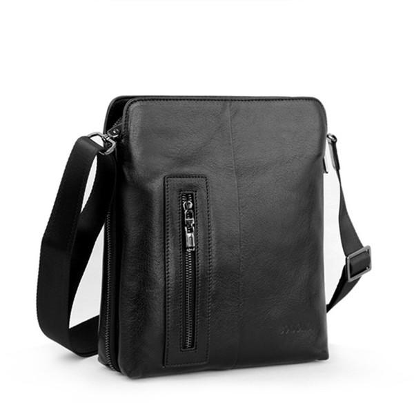 Leather Shoulder Bag Casual Men's First Layer Leather Messenger Bag Black And Brown Two-color Vertical Square Men's Bag jooyoo